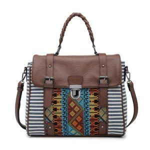 Embroidered Satchel w/ Navy Stripes